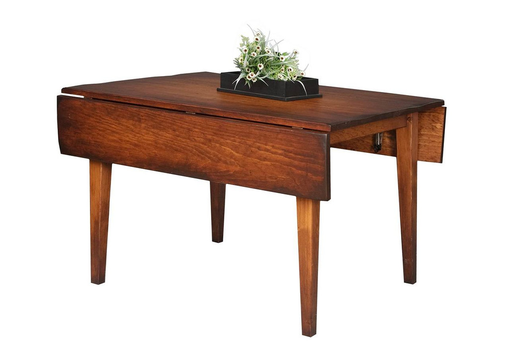 "Amish Handcrafted 4 Foot Farm Table With 2 Drop Leafs, And 3"" Shaker Legs by Vintage Creations By Sam - Finished With Antique Finish, With Heritage Stain"