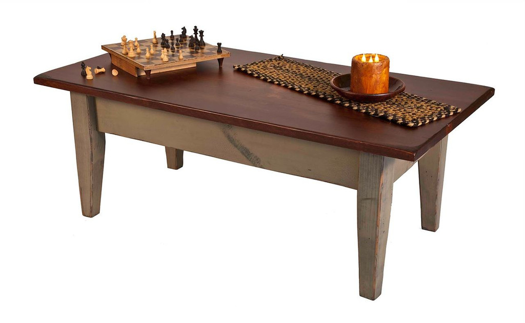 Amish Handcrafted Harvest Coffee Table by Vintage Creations By Sam - Finished In Antique 2-Tone Finish,