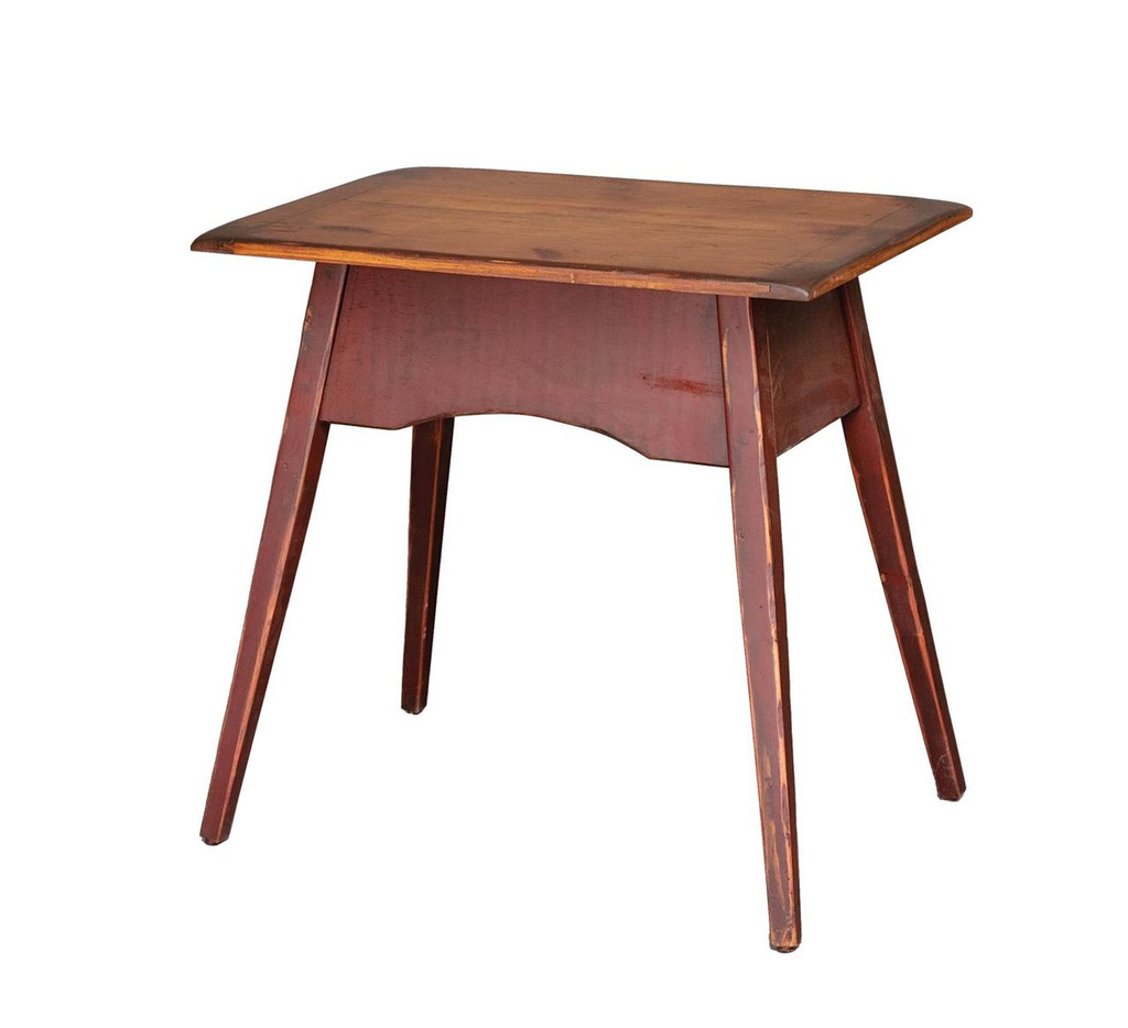 Amish Handcrafted End Table by Vintage Creations By Sam - Finished In Antique 2-Tone Finish, Barn Red With Harvest Stain