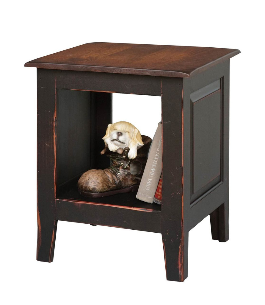 Amish Handcrafted End Table by Vintage Creations By Sam - Finished In Antique 2-Tone Finish, Black With Harvest Stain