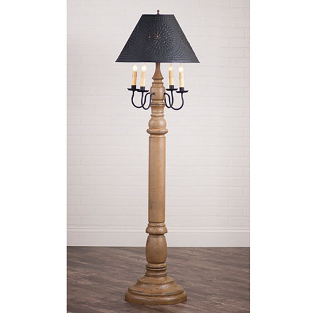 "Irvin's General James Floor Lamp In Americana Pearwood, Shown WIth Optional 17"" Flared Shade"