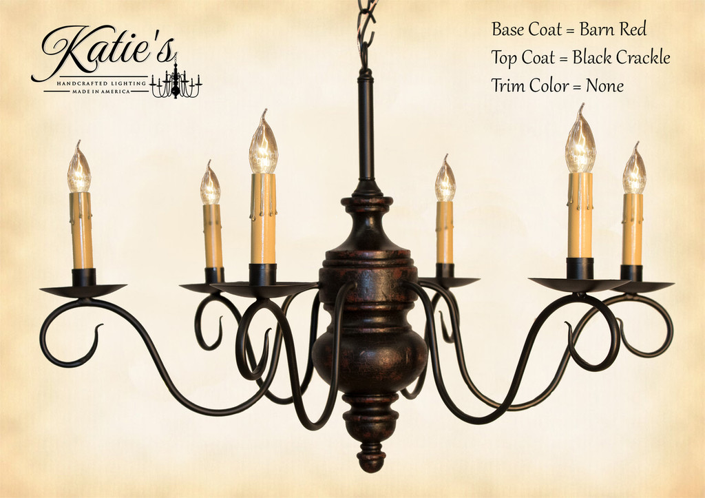 Katie's Handcrafted Lighting Queen Anne Wood Chandelier Pictured In: Base Coat Color = Barn Red, Top Coat Color = Black Crackle, Trim Color = None