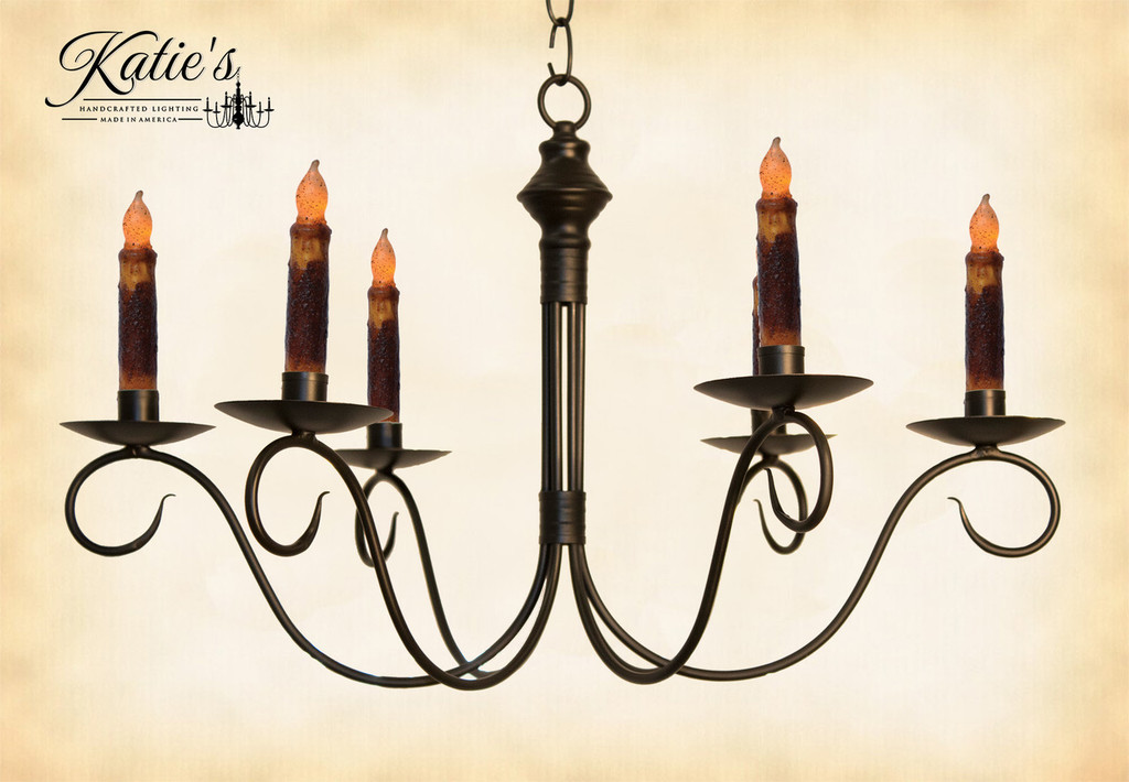 Katie's Handcrafted Lighting Adams Candle Chandelier Finished In Aged Black Finish