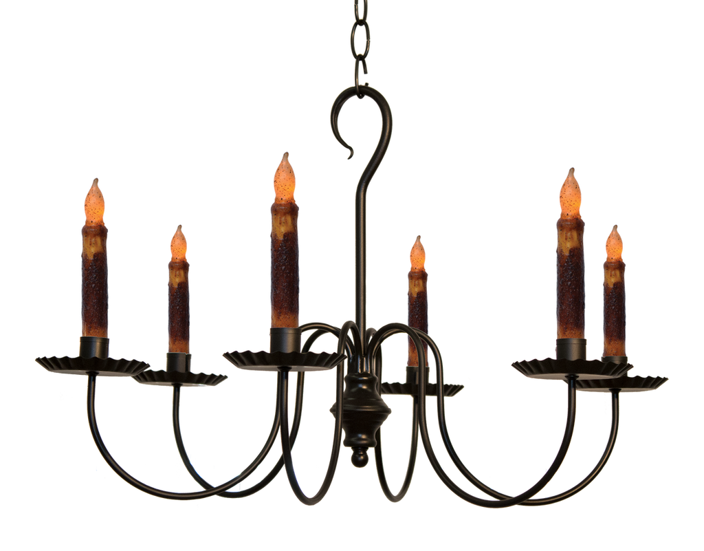 Katie's Handcrafted Lighting Wilcox Candle Chandelier Finished In Aged Black Finish