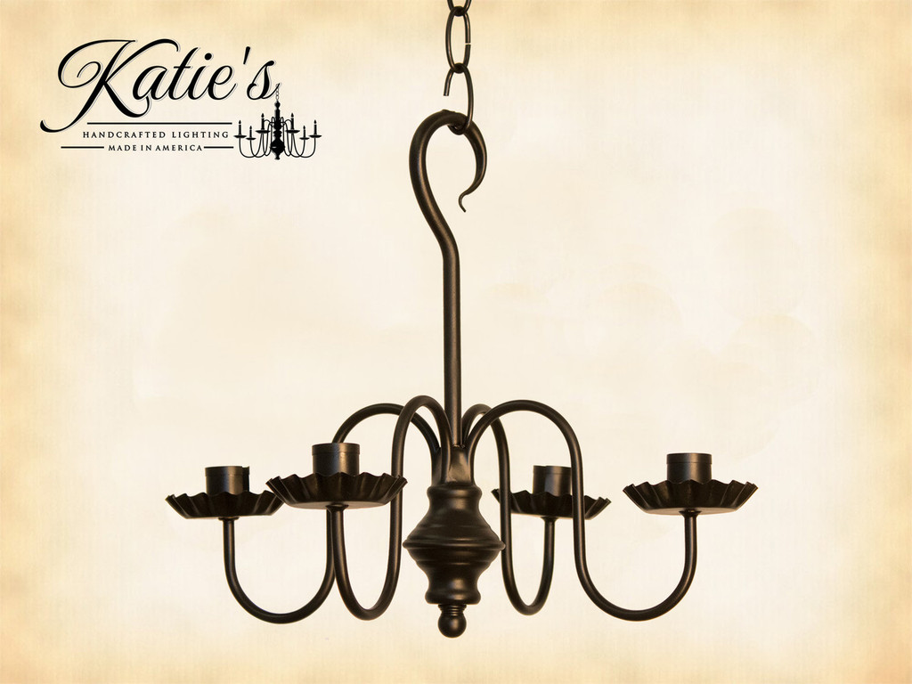 Katie's Handcrafted Lighting Peppermill Metal Candle Chandelier Finished In Aged Black
