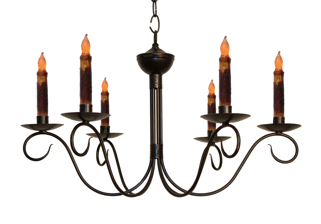 Katie's Handcrafted Lighting Washington Candle Chandelier Finished In Aged Black Finish