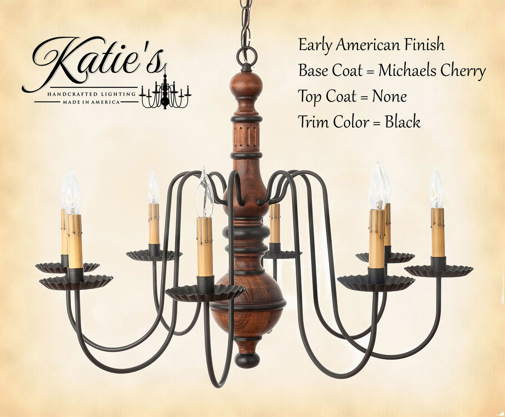 Katie's Handcrafted Lighting Hamilton Wood Chandelier Pictured In: Early American Finish, Base Coat Color = Michael's Cherry, Top Coat Color = None, Trim Color = Black