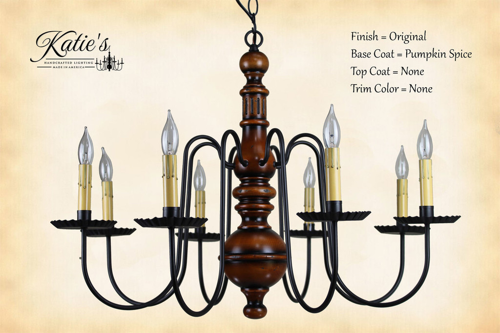 Katie's Handcrafted Lighting Hamilton Wood Chandelier Pictured In: Original Finish, Base Coat Color = Pumpkin Spice, Top Coat Color = None, Trim Color = None