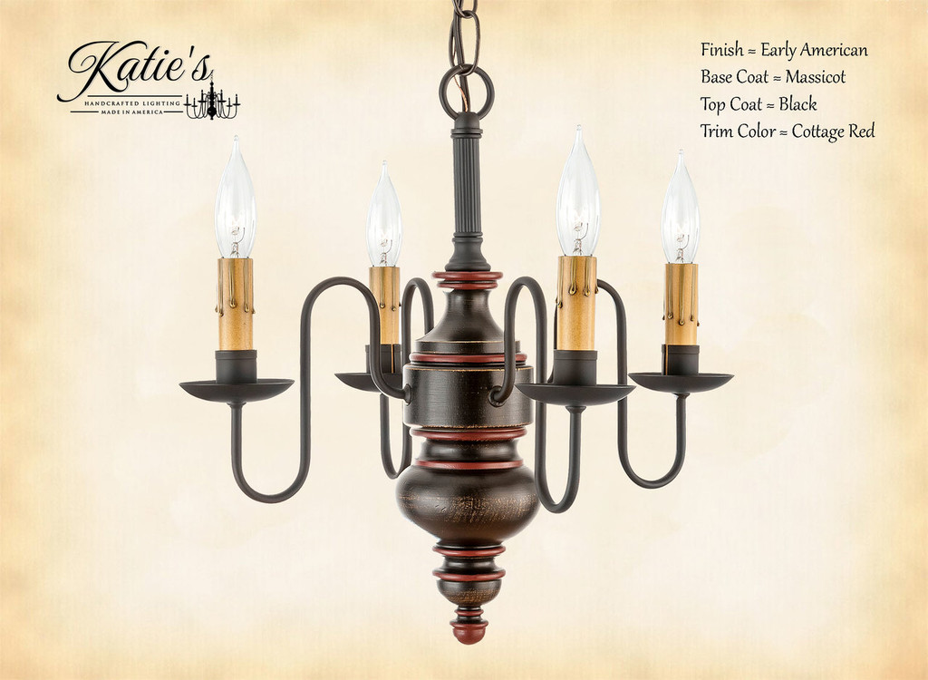 Katie's Handcrafted Lighting Chesapeake Mini Wood Chandelier Pictured In Early American Finish: Base Coat Color = Massicot, Top Coat Color = Black, Trim Color = Cottage Red