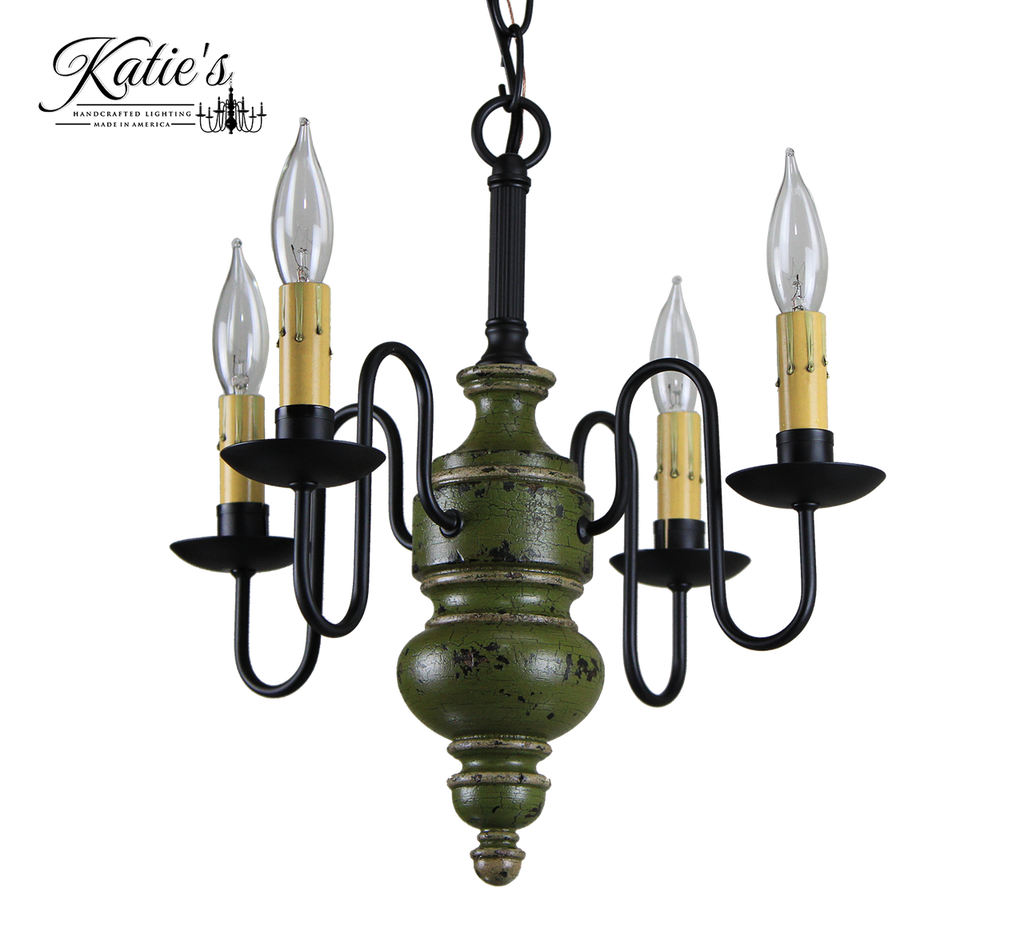 Katie's Handcrafted Lighting Chesapeake Mini Wood Chandelier Pictured In Original Finish: Base Coat Color = Black, Top Coat Color = Sage Green Crackle, Trim Color = Buttermilk