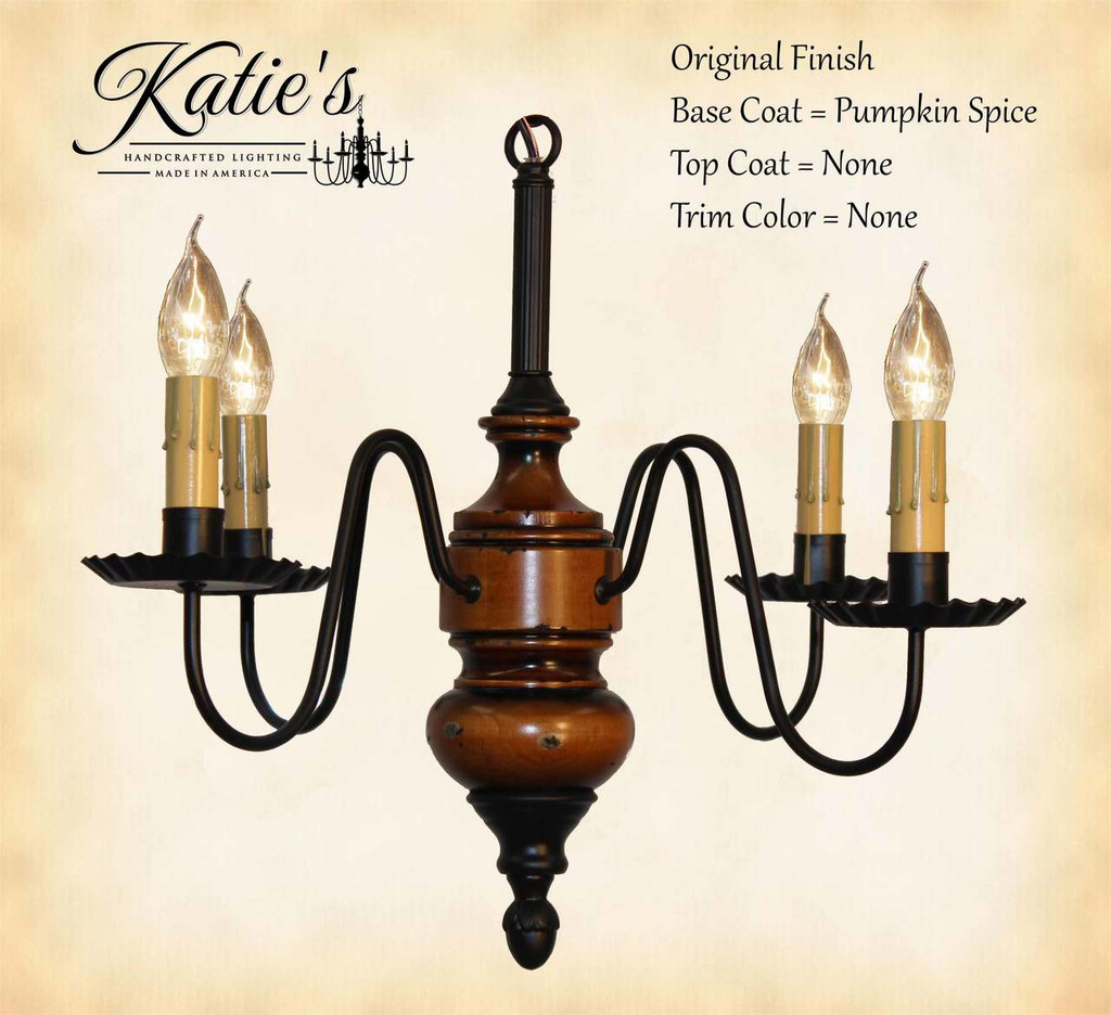 Katie's Handcrafted Lighting Frederick Mini Wood Chandelier Pictured In Original Finish: Base Coat Color = Pumpkin Spice, Top Coat Color = None, Trim Color = None