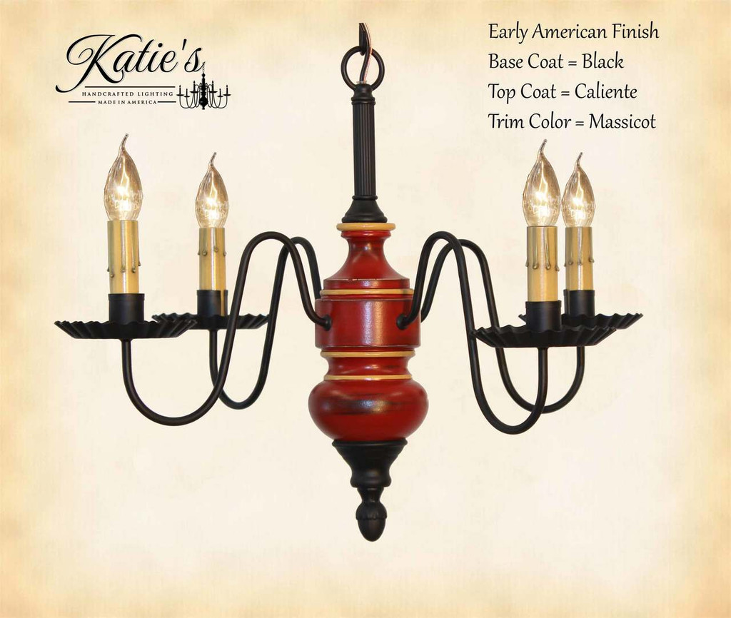 Katie's Handcrafted Lighting Frederick Mini Wood Chandelier Pictured In Early American Finish: Base Coat Color = Black, Top Coat Color = Caliente, Trim Color = Massicot