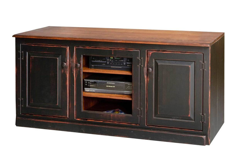 Amish Handcrafted 5 Foot Flat Screen TV Stand by Vintage Creations By Sam - Finished In Antique 2-Tone Finish, Black With Harvest Stain