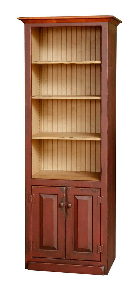 Amish HandcraftedEntertainment Center Side Piece by Vintage Creations By Sam - Finished In CUSTOM Antique 3-Tone Finish, Barn Red With Harvest Stain & Custom Color