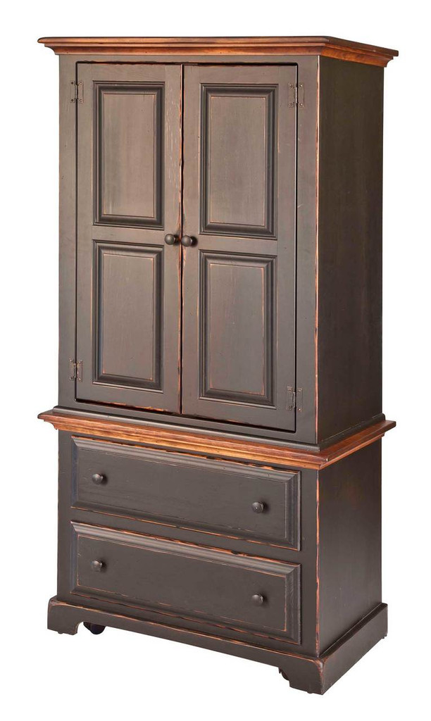Amish Handcrafted Small Armoire by Vintage Creations By Sam - Finished In Antique 2-Tone Finish, Black With Harvest Stain