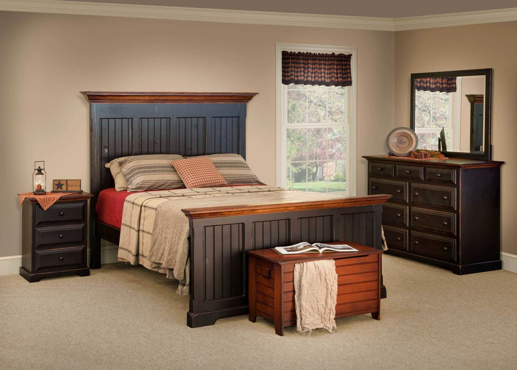 Amish Handcrafted Bedroom Furniture by Vintage Creations By Sam - Finished In Antique 2-Tone Finish, Black With Harvest Stain