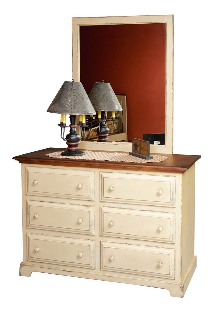 Amish Handcrafted Dresser by Vintage Creations By Sam - Finished In Antique 2-Tone Finish, Buttercream With Harvest Stain