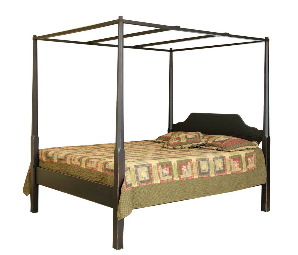 Amish Handcrafted Pencil Post Bed With Canopy By Vintage Creations By Sam    Finished In Antique