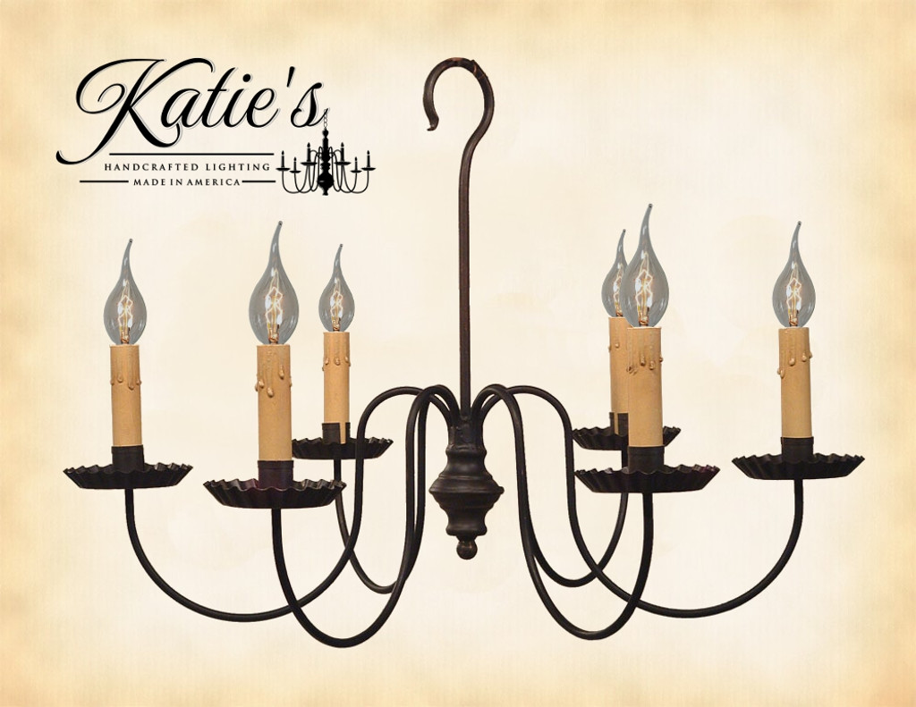 Katie's Handcrafted Lighting Wilcox Chandelier Finished In Aged Black Finish