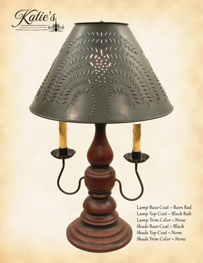 "Katie's Handcrafted Lighting Liberty Lamp Pictured In: Base Coat Color = Barn Red, Top Coat Color = Black Rub, Trim Color = None, Pictured With 15"" Willow Shade In Aged Black"