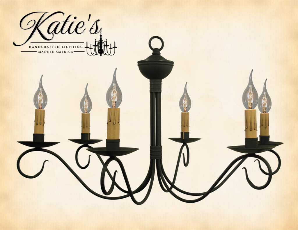 Katie's Handcrafted Lighting Washington Chandelier Finished In Aged Black Finish