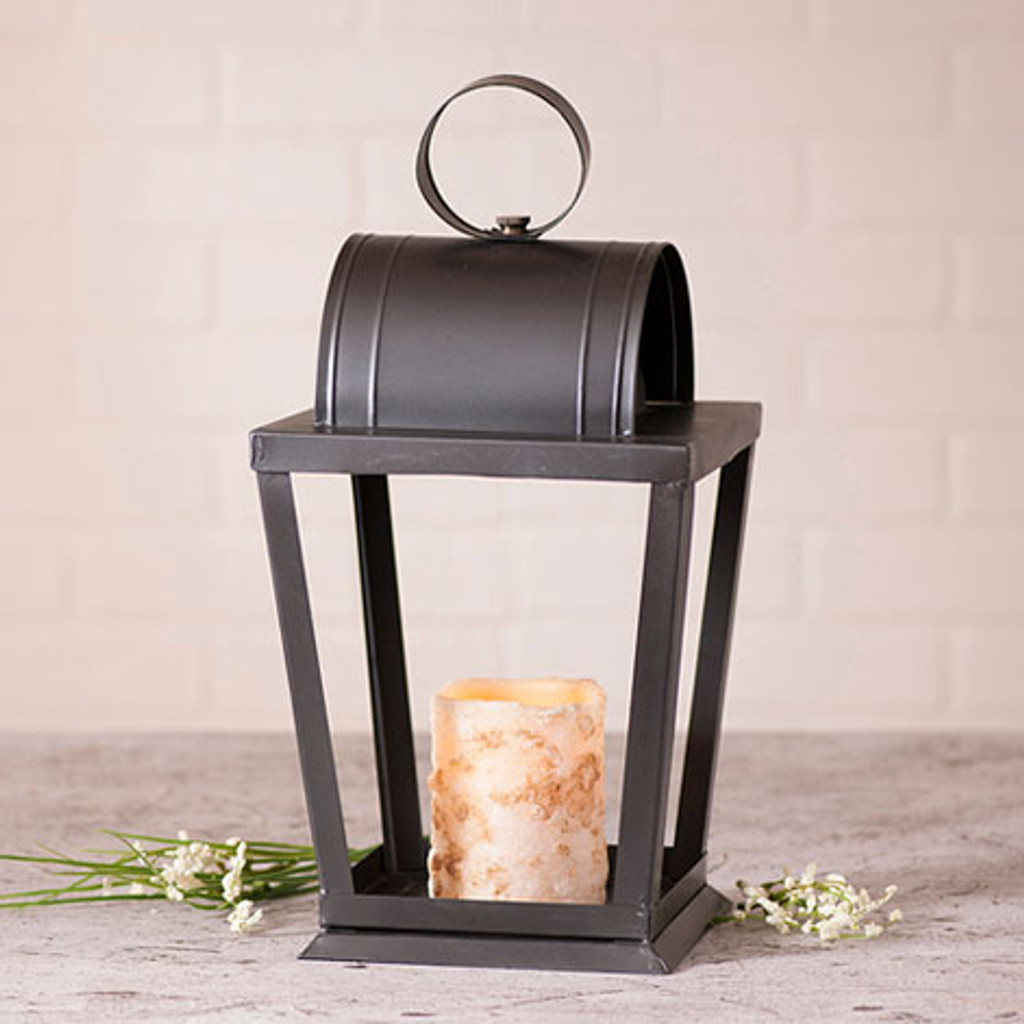 Irvin's Tinware Angled Sitting Lantern Finished In Smokey Black