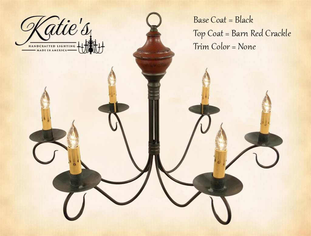 Katie's Handcrafted Lighting Washington Wood Chandelier Pictured In: Base Coat Color = Black, Top Coat Color = Barn Red Crackle, Trim Color = None