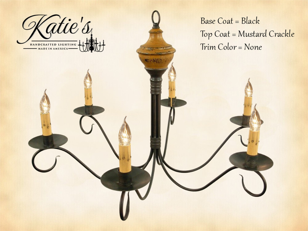 Katie's Handcrafted Lighting Washington Wood Chandelier Pictured In: Base Coat Color = Black, Top Coat Color = Mustard Crackle, Trim Color = None