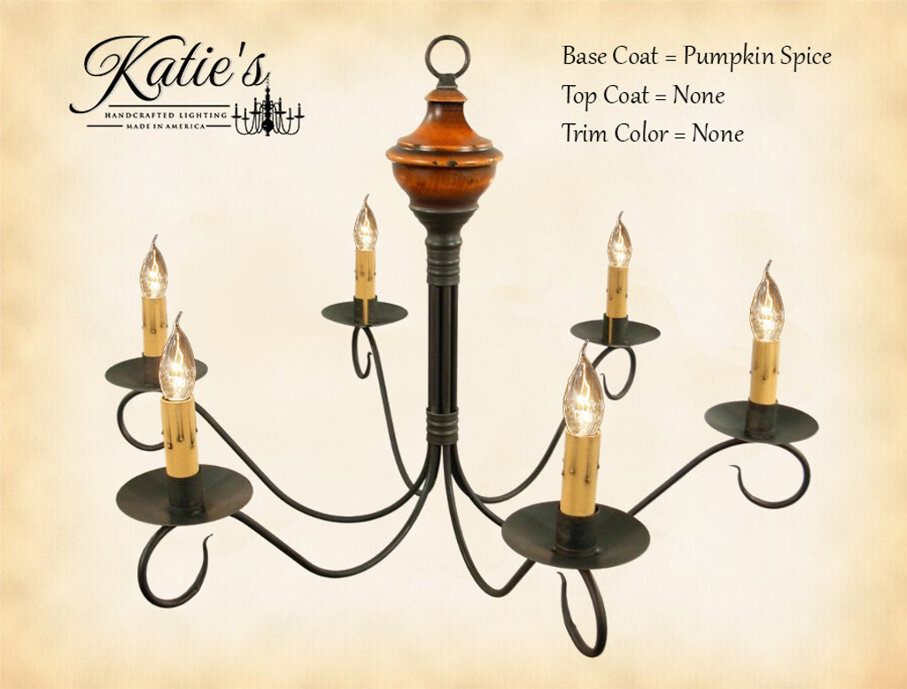 Katie's Handcrafted Lighting Washington Wood Chandelier Pictured In: Base Coat Color = Pumpkin Spice, Top Coat Color = None, Trim Color = None