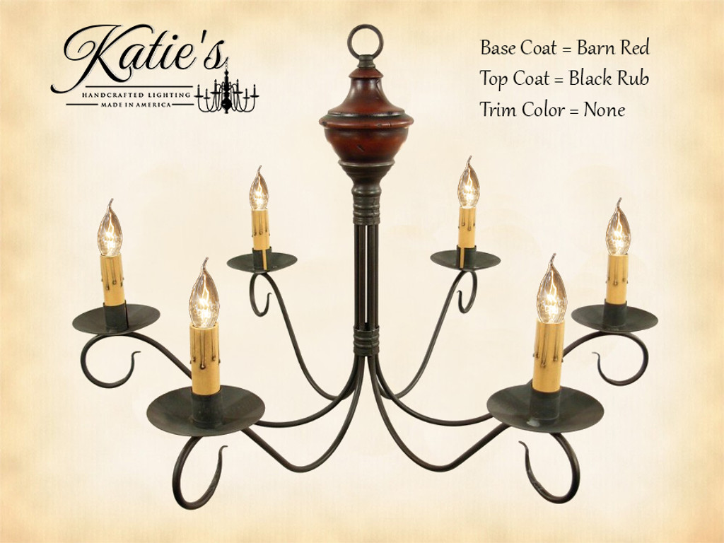 Katie's Handcrafted Lighting Washington Wood Chandelier Pictured In: Base Coat Color = Barn Red, Top Coat Color = Black Rub, Trim Color = None