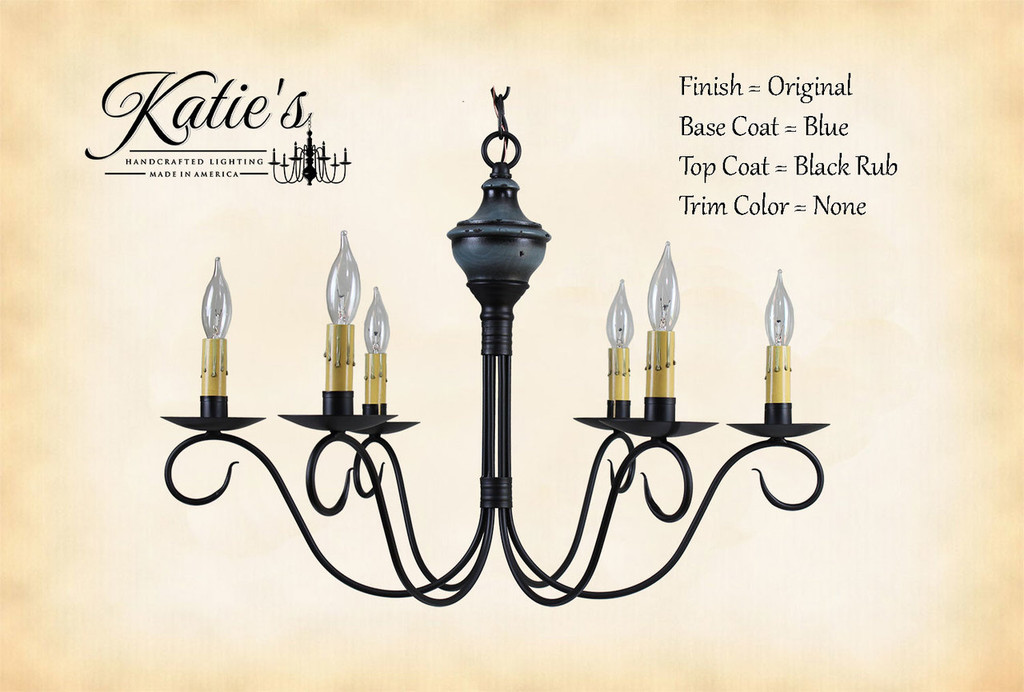 Katie's Handcrafted Lighting Washington Wood Chandelier Pictured In: Finish = Original, Base Coat Color = Blue, Top Coat Color = Black Rub, Trim Color = None