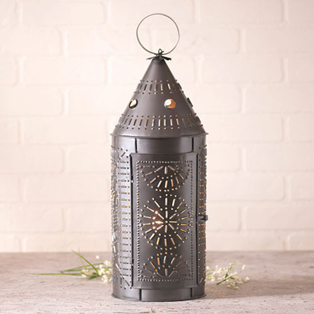 "Irvin's Tinware 21"" Lantern Finished In Smokey Black"