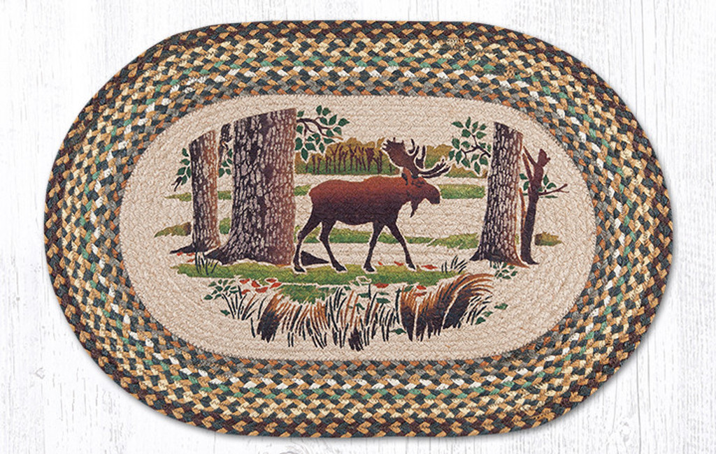 Earth Rugs™ Oval Patch Rug - Moose Forest - OP-051