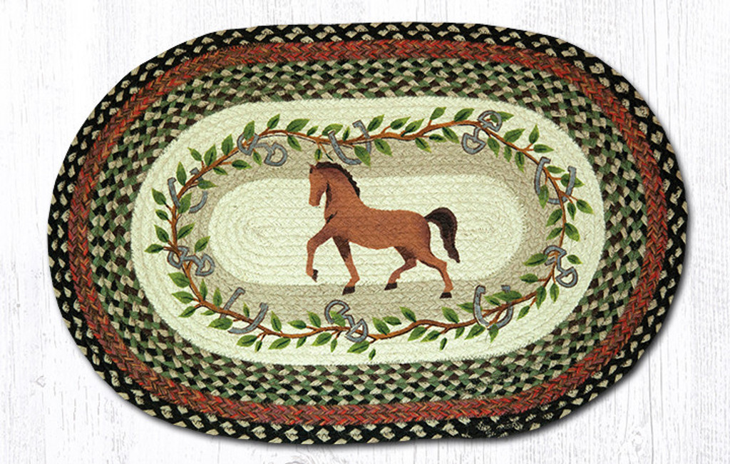 Earth Rugs™ Oval Patch Rug - Horse Oak Leaf - OP-427