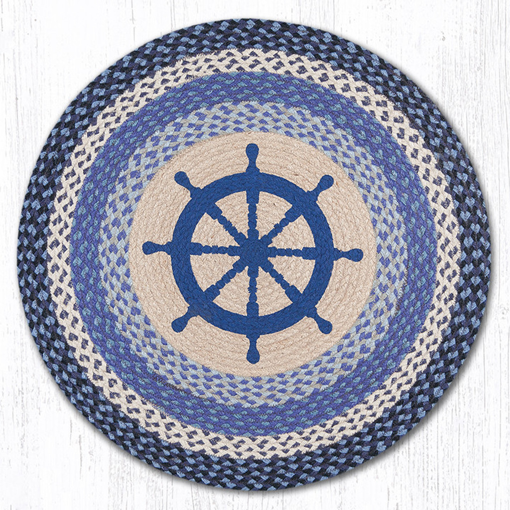 Earth Rugs™ Oval Patch Rug - Nautical Wheel - RP-434