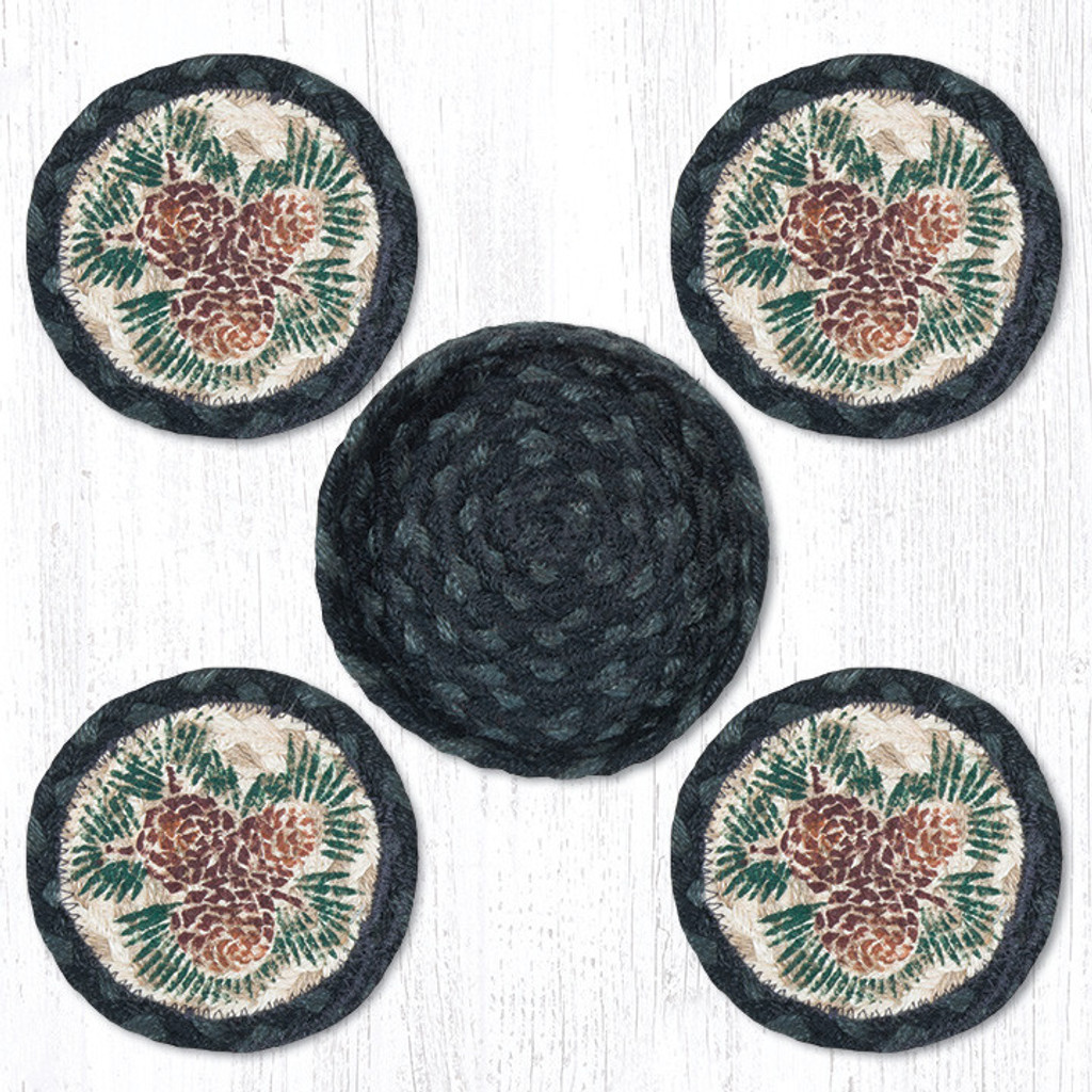 Earth Rugs™ braided coasters In a basket set: Pinecone - CNB-025A