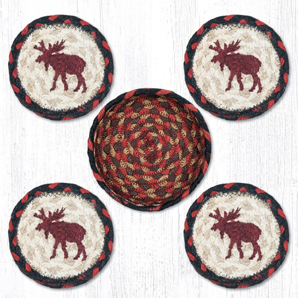Earth Rugs™ braided coasters In a basket set: Moose - CNB-019