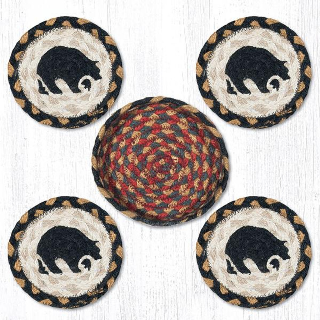 Earth Rugs™ braided coasters In a basket set: Black Bear - CNB-043