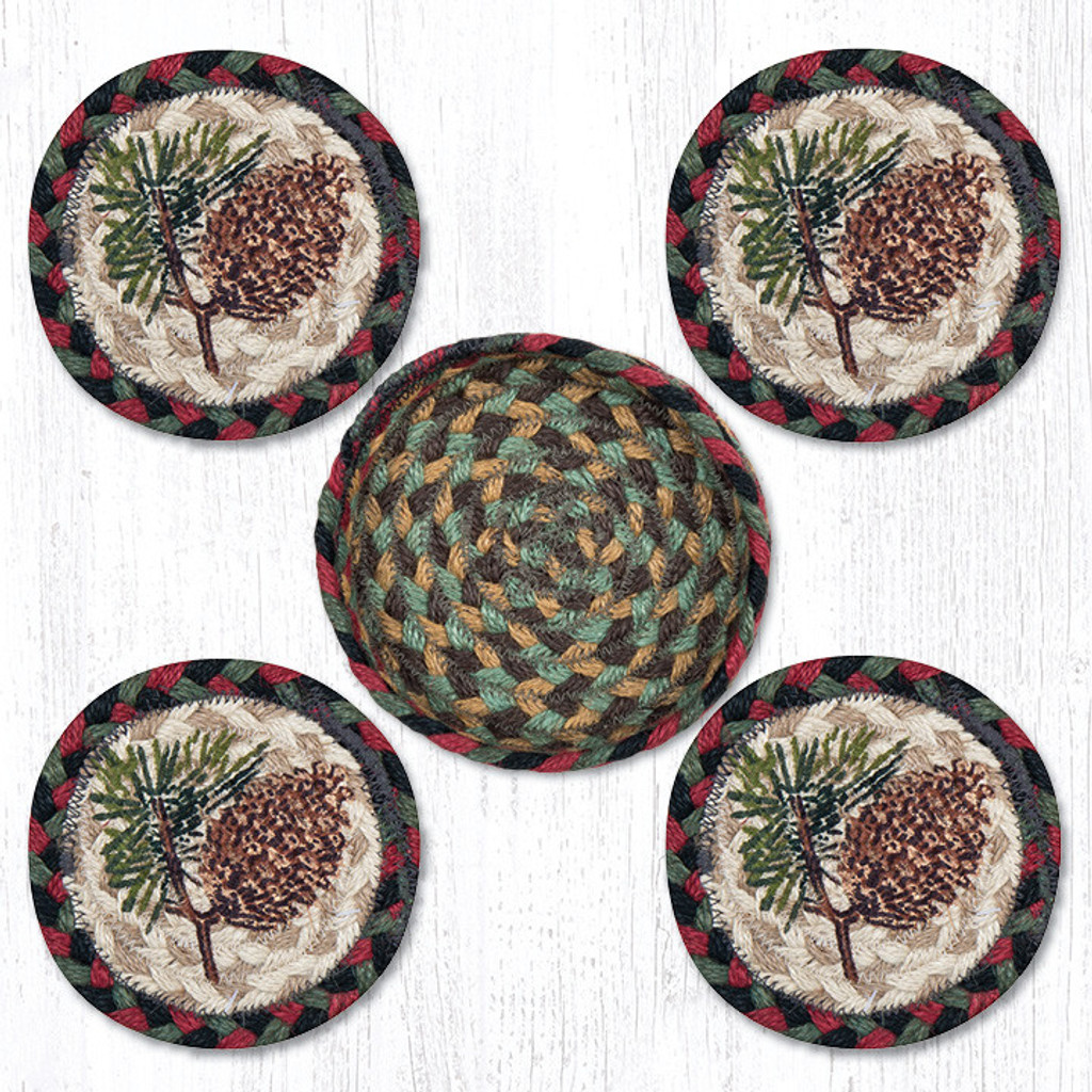 Earth Rugs™ braided coasters In a basket set: Pinecone - CNB-081