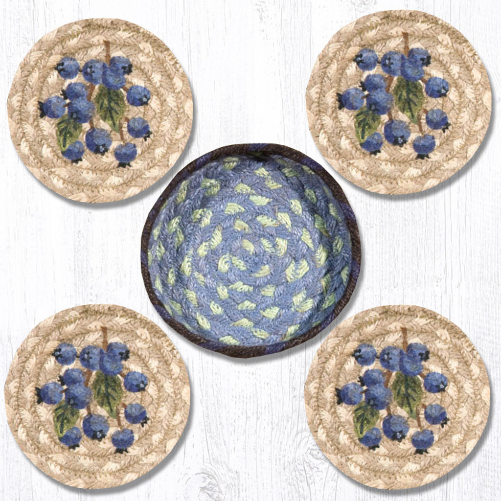 Earth Rugs™ braided coasters In a basket set: Blueberry - CNB-312
