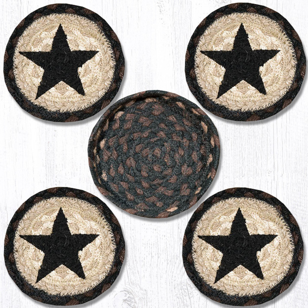 Earth Rugs™ braided coasters In a basket set: Black Star - CNB-313