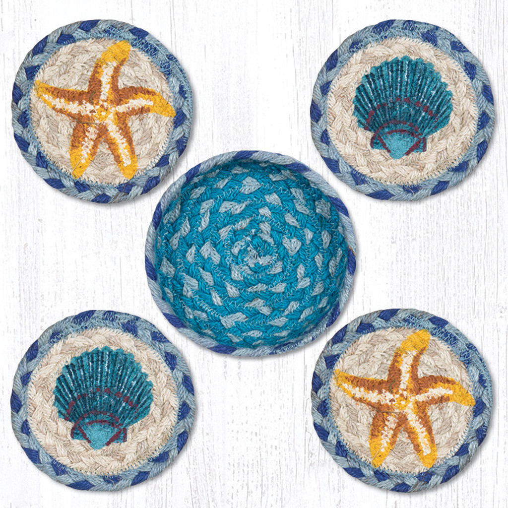 Earth Rugs™ braided coasters In a basket set: Star Fish Scallop - CNB-378