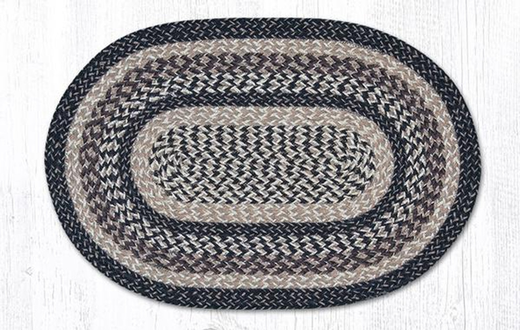 Earth Rugs™ oval craft-spun braided jute rug in pictured in: Black & Tan - C9-93