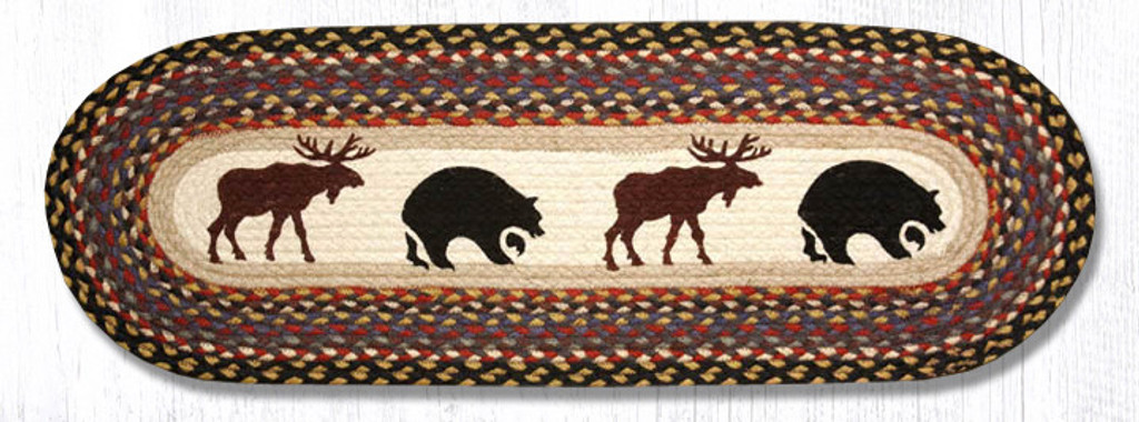 Earth Rugs™ Braided Jute Oval Table Runner: Bear Moose - OP-043
