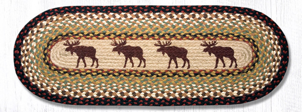 Earth Rugs™ Braided Jute Oval Table Runner: Moose 019M