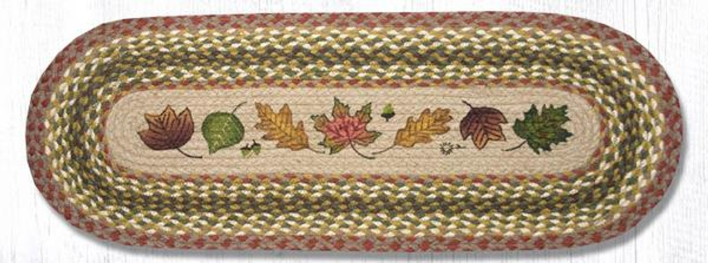 Earth Rugs™ Braided Jute Oval Table Runner: Autumn Leaves 024AL