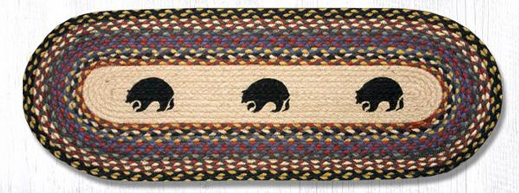 Earth Rugs™ Braided Jute Oval Table Runner: Black Bears 043BB
