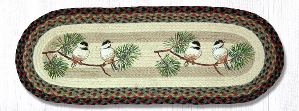 Earth Rugs™ Braided Jute Oval Table Runner: Chickadee 68-081C