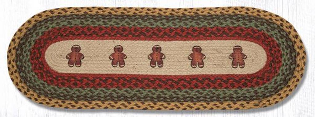 Earth Rugs™ Braided Jute Oval Table Runner: Gingerbread Men 68-111GBM