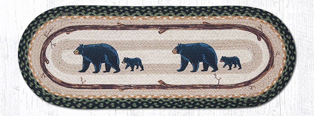 Earth Rugs™ Braided Jute Oval Table Runner: Mama & Baby Bear 68-116MB